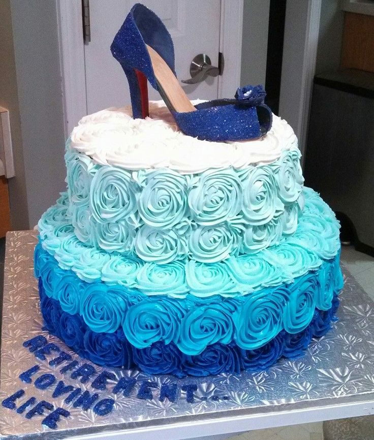 Ombre Blue Cake Roses