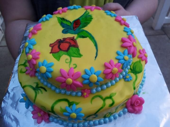 Painted Hummingbird Wedding Cake