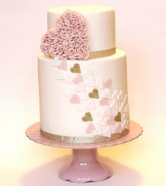 Pink and Gold Heart Wedding Cake