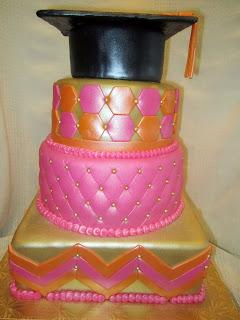 Pink Chevron Graduation Cake