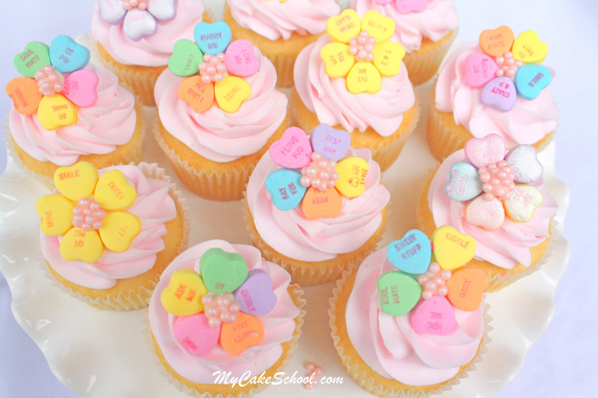 Valentine's Day Conversation Heart Cupcakes