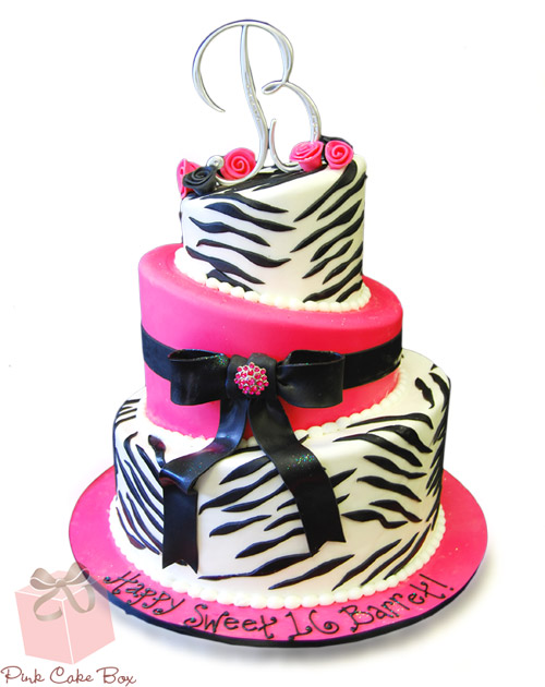 Zebra Print Sweet 16 Cake