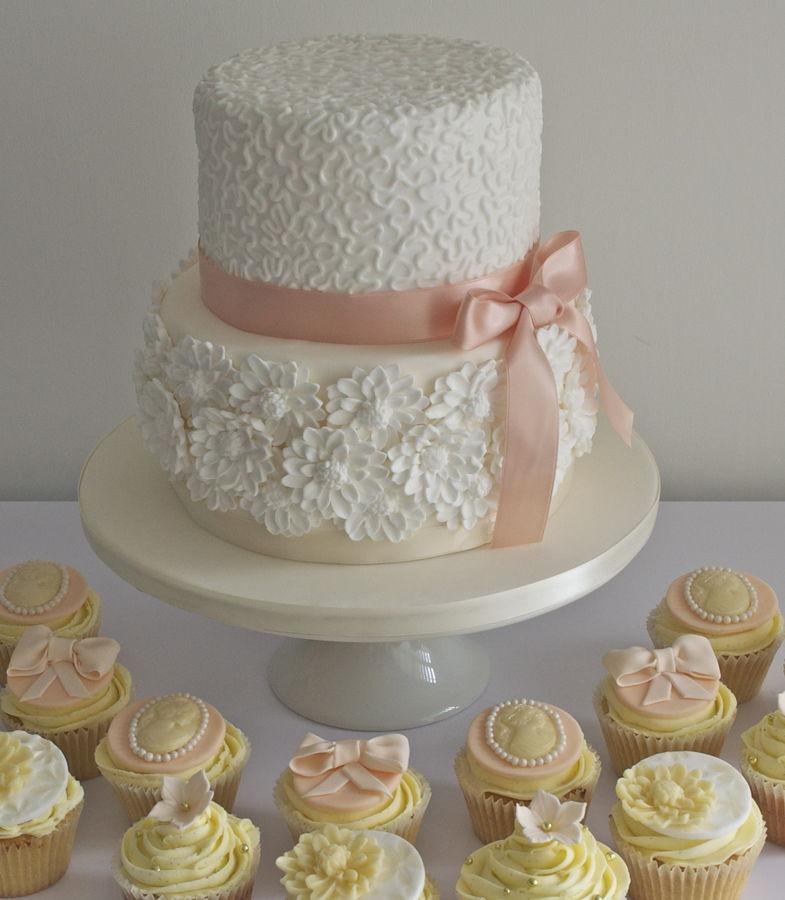 2 Tier Wedding Cakes with Cupcakes