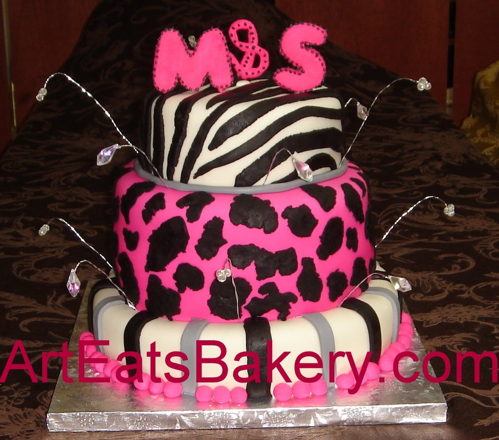 Black and Pink Fondant Birthday Cake