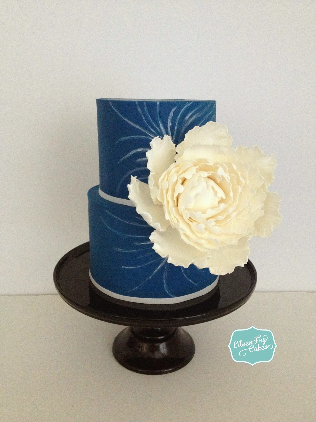 Blue Wedding Cake with Peonies