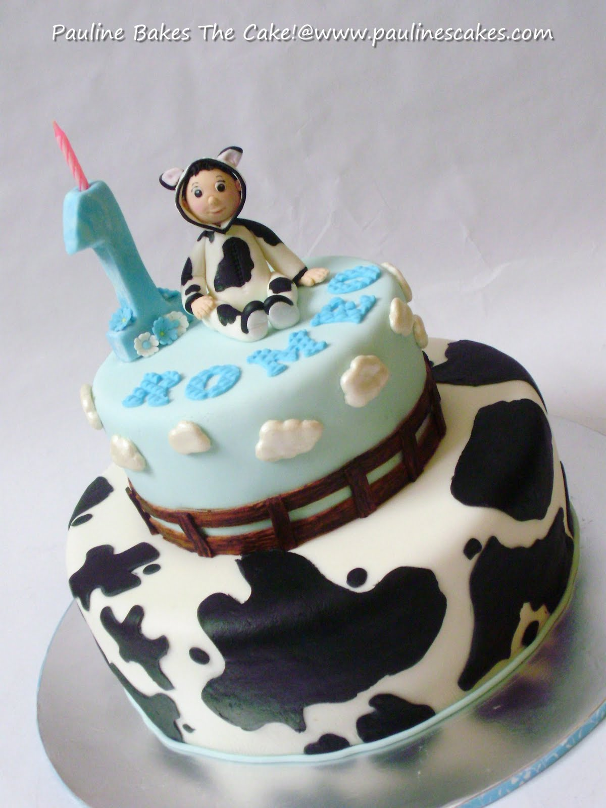 Cow Print Baby Shower Cake