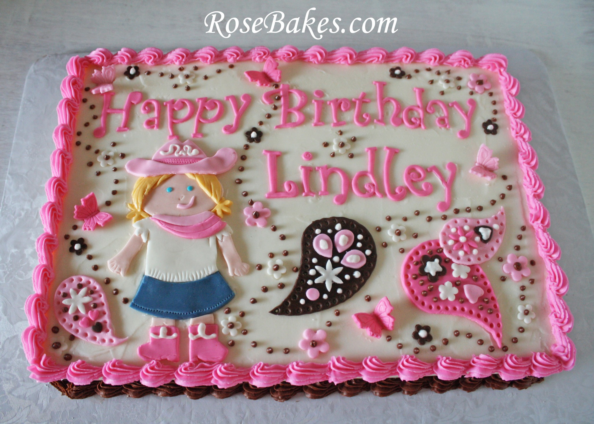 10 Photos of Cowgirl Princess Sheet Cakes