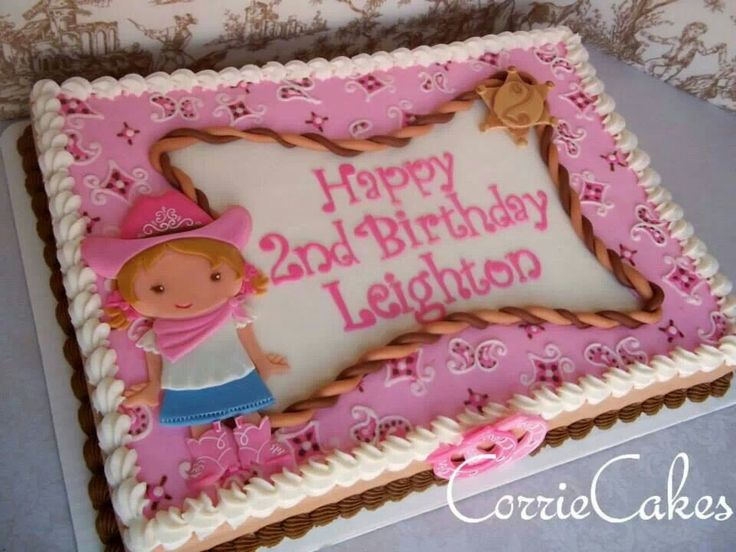 Cowgirl Birthday Sheet Cakes