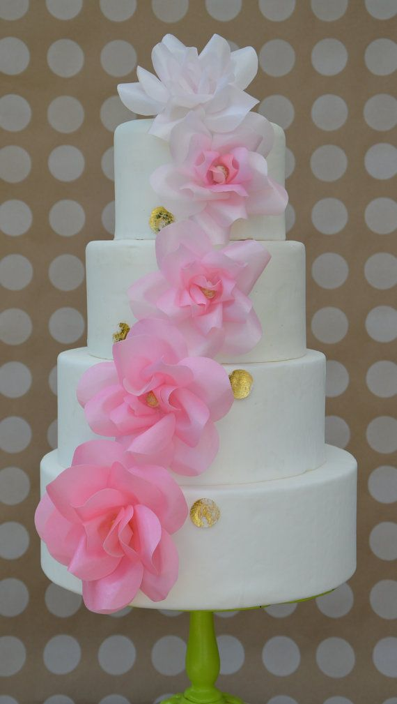 Edible Wafer Paper Flower Wedding Cake