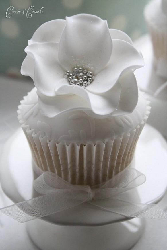 Elegant White Wedding Cupcakes