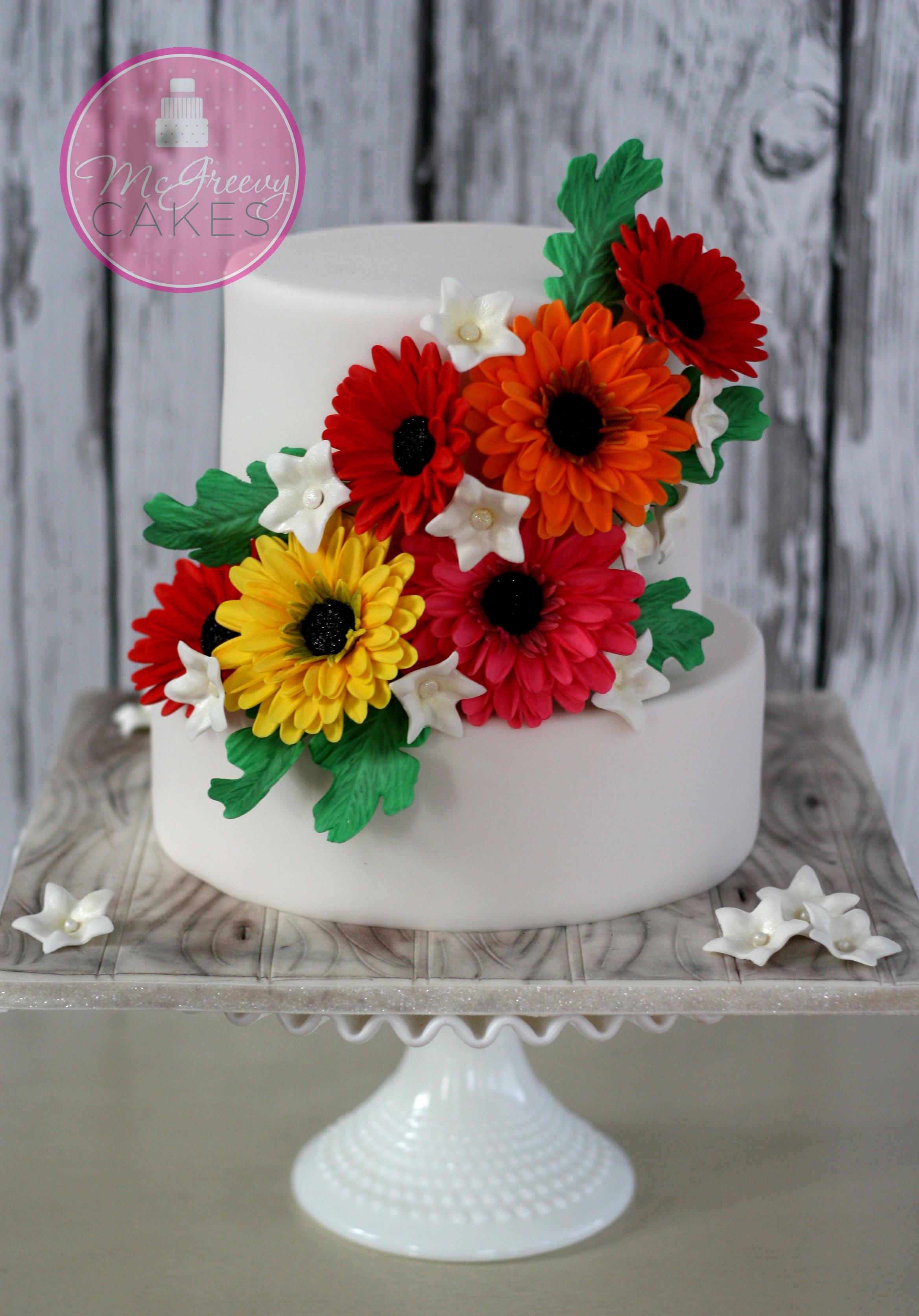 Gerber Daisy Birthday Cake Pic