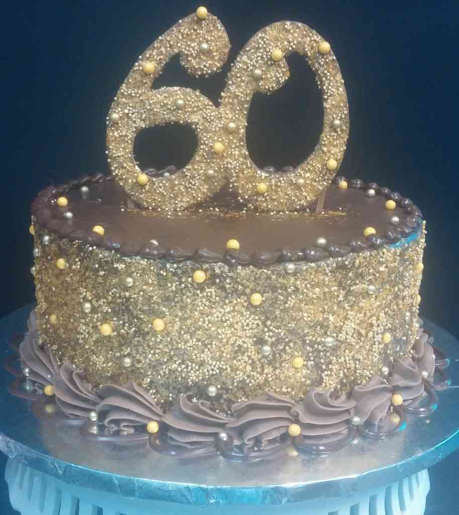 Gold 60th Birthday Cake