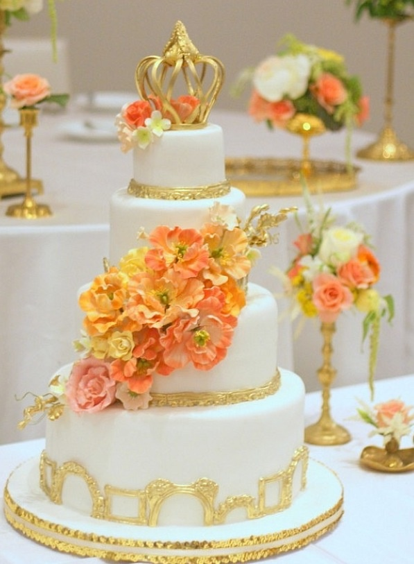 Gold and Coral Color Wedding Cake