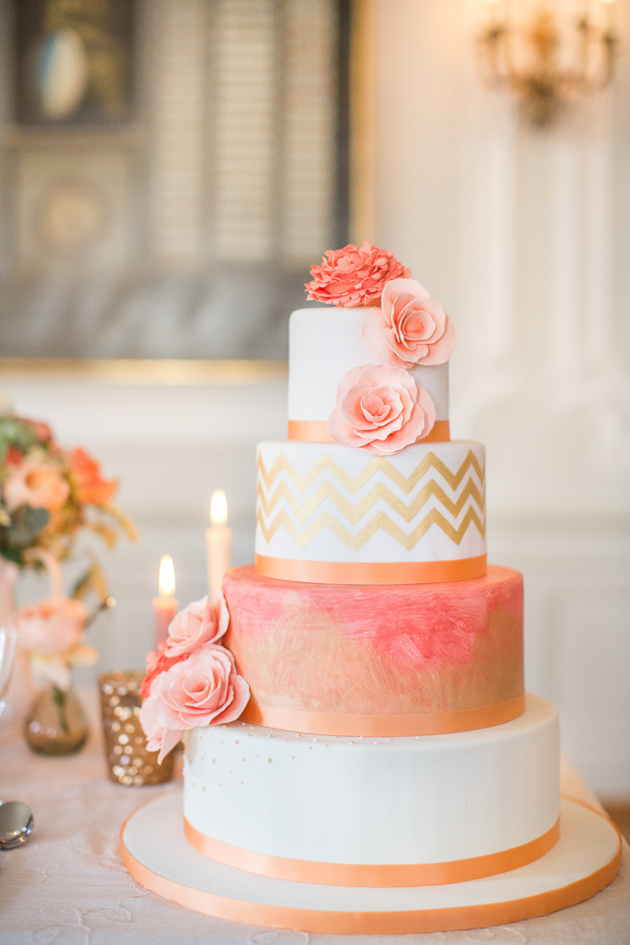 Gold and Coral Wedding Cake