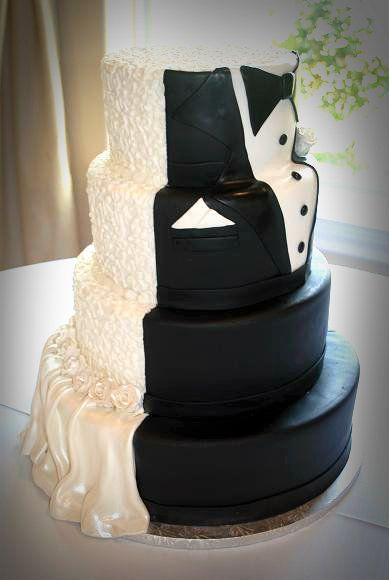 Half Half Wedding Cake Bride and Groom