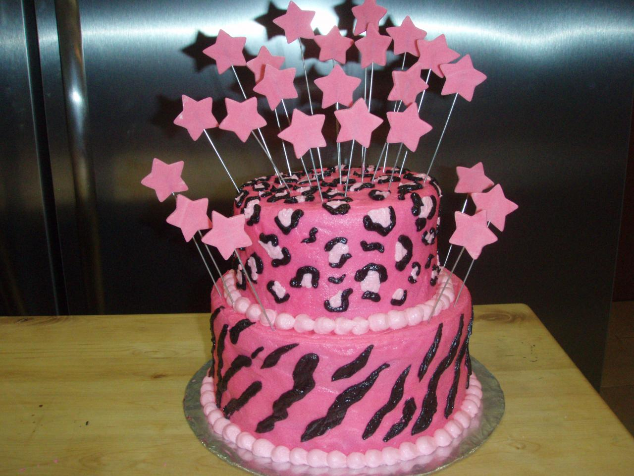 Pink and Cheetah Print Birthday Cake