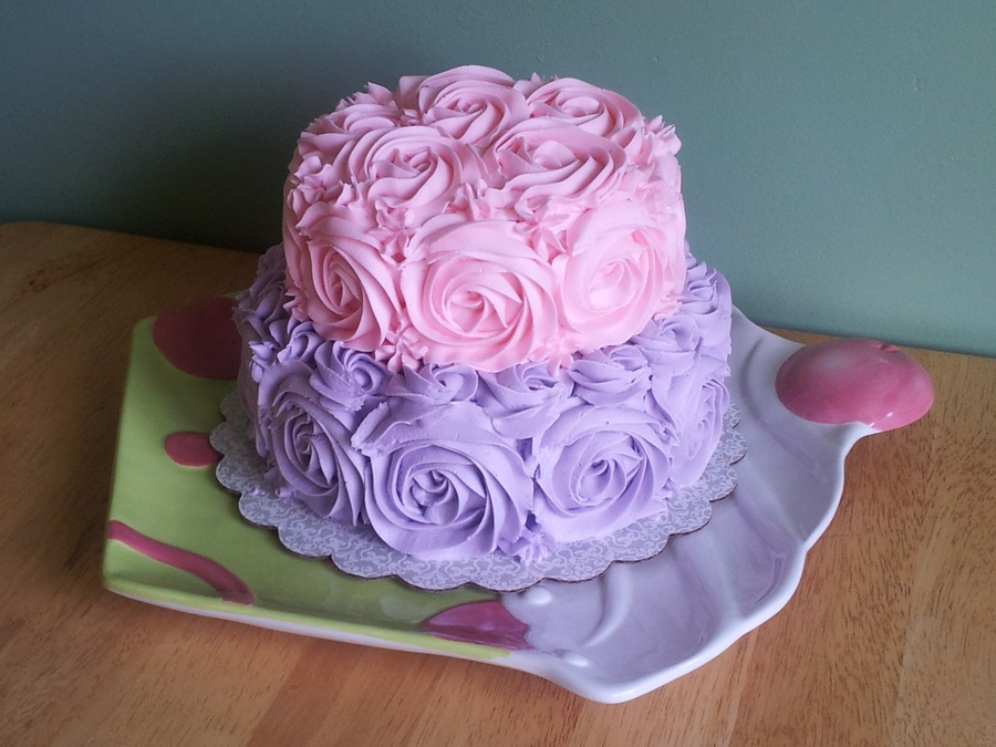 11 Photos of Purple And Pink Rose Cakes