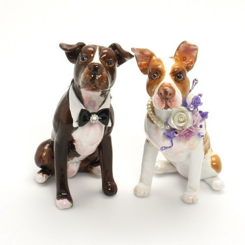 Pitbull Wedding Cake Toppers