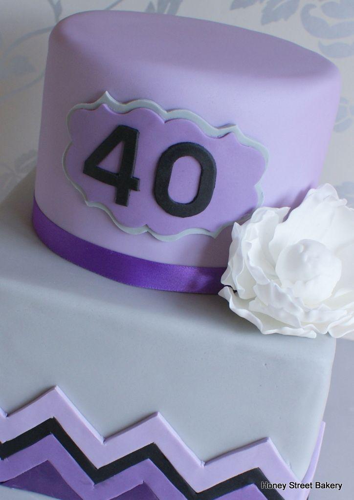 Purple 2 Tier 40th Birthday Cakes