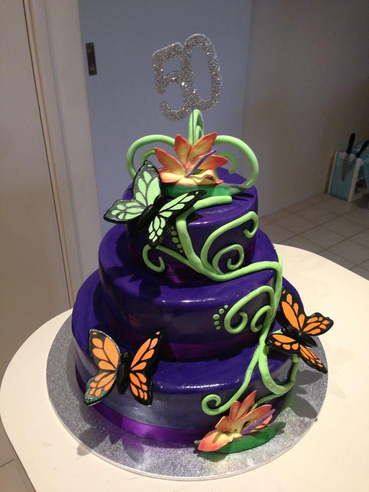 Purple 50th Birthday Cake Ideas