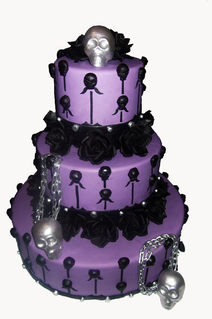 Purple Halloween Wedding Cake
