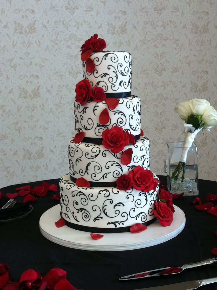 5 Photos of Dark Red And Black Wedding Cakes