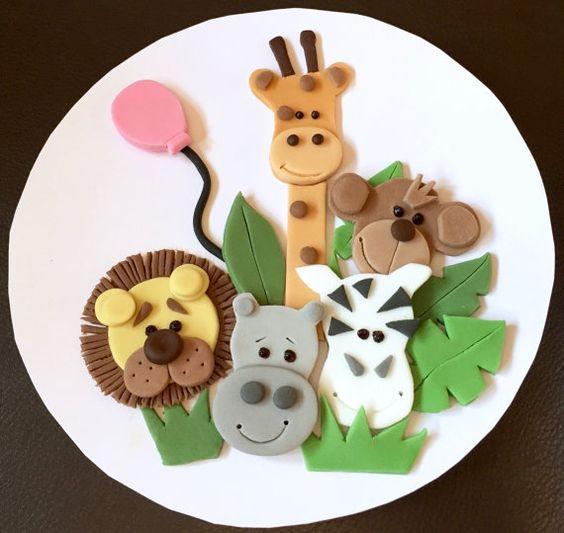 Round Jungle Animal Birthday Cakes