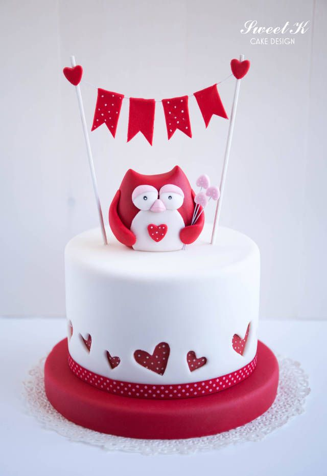 Valentine Owl Birthday Cake