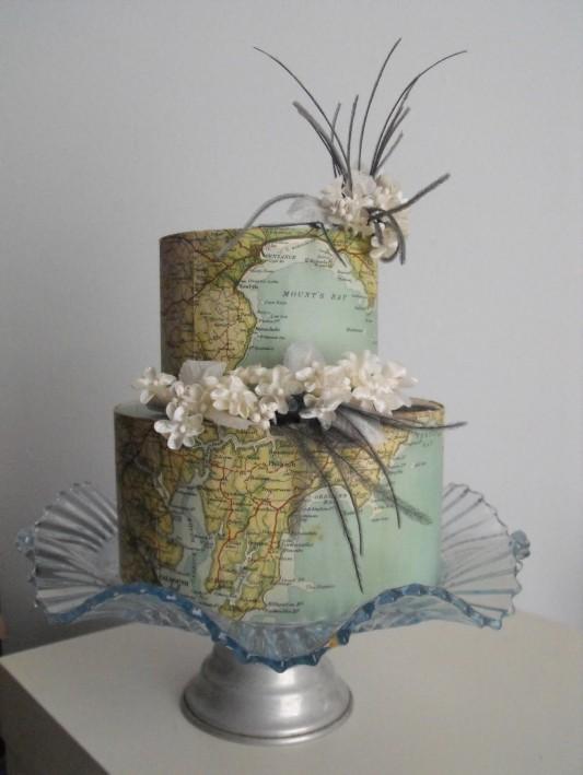 Vintage Map Cake Decorations