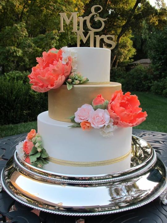 Wedding Cake with Coral and Gold