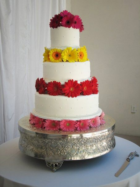 Wedding Cake with Gerbera Daisies