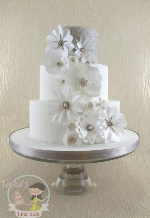 Wedding Cake with Wafer Paper Flower
