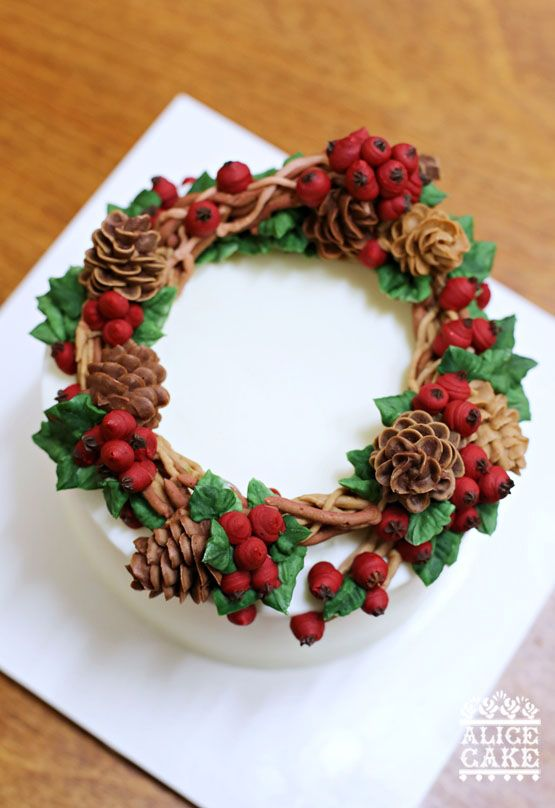Wreath Buttercream Cake Decoration Flowers