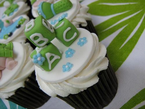 ABC Blocks Baby Shower Cupcake