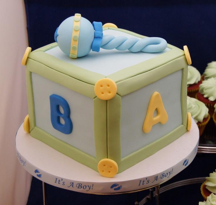 Baby Blocks Cake and Cupcakes