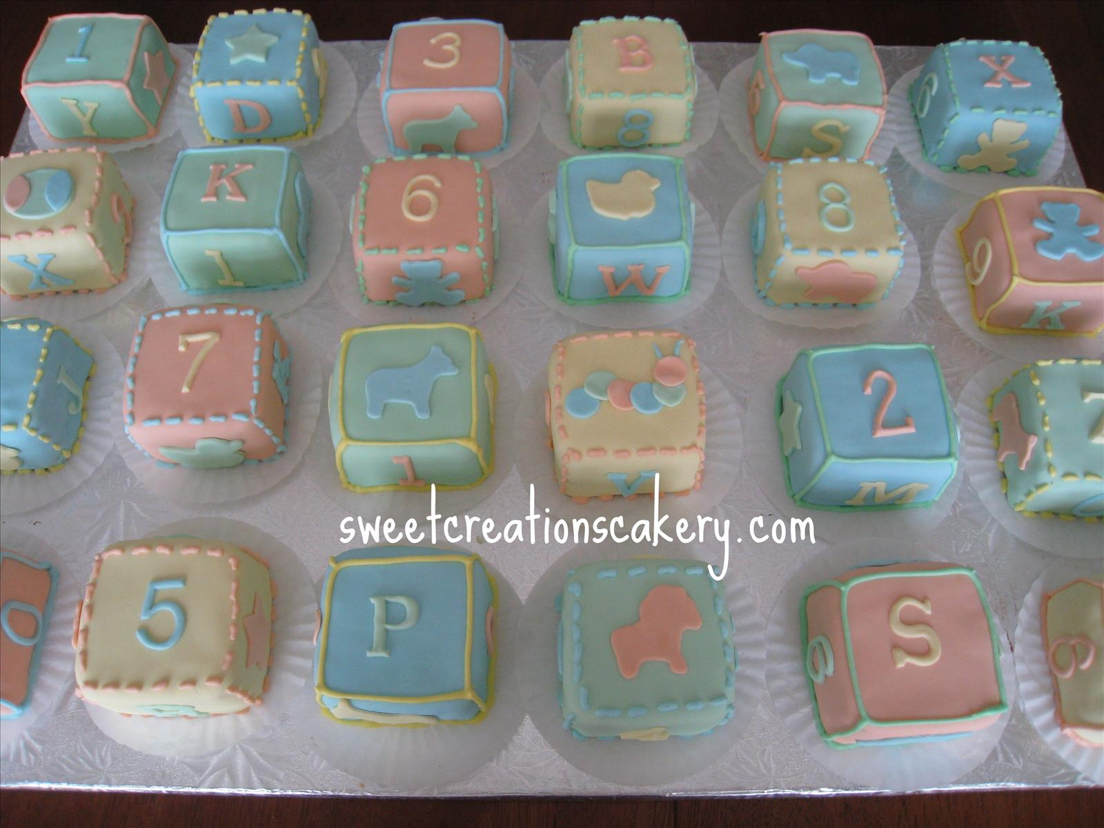 Baby Blocks Shower Cakes with Cupcakes