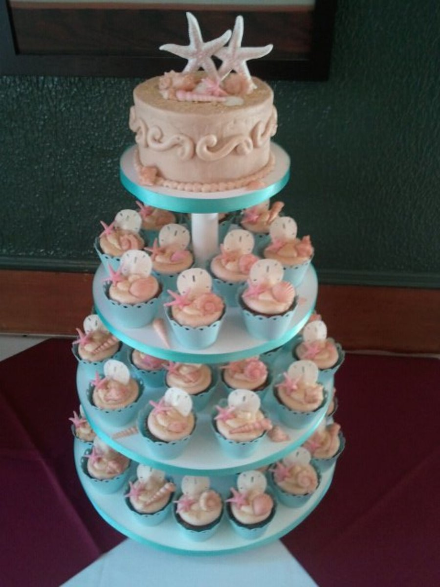 Beach Bridal Shower Cupcakes