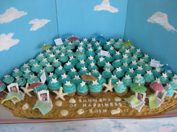 Beach Theme Bridal Shower Cupcakes Idea