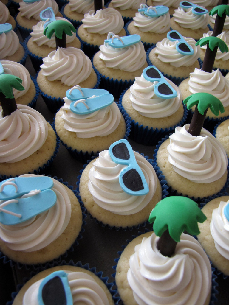 Beach Themed Wedding Shower Cupcakes