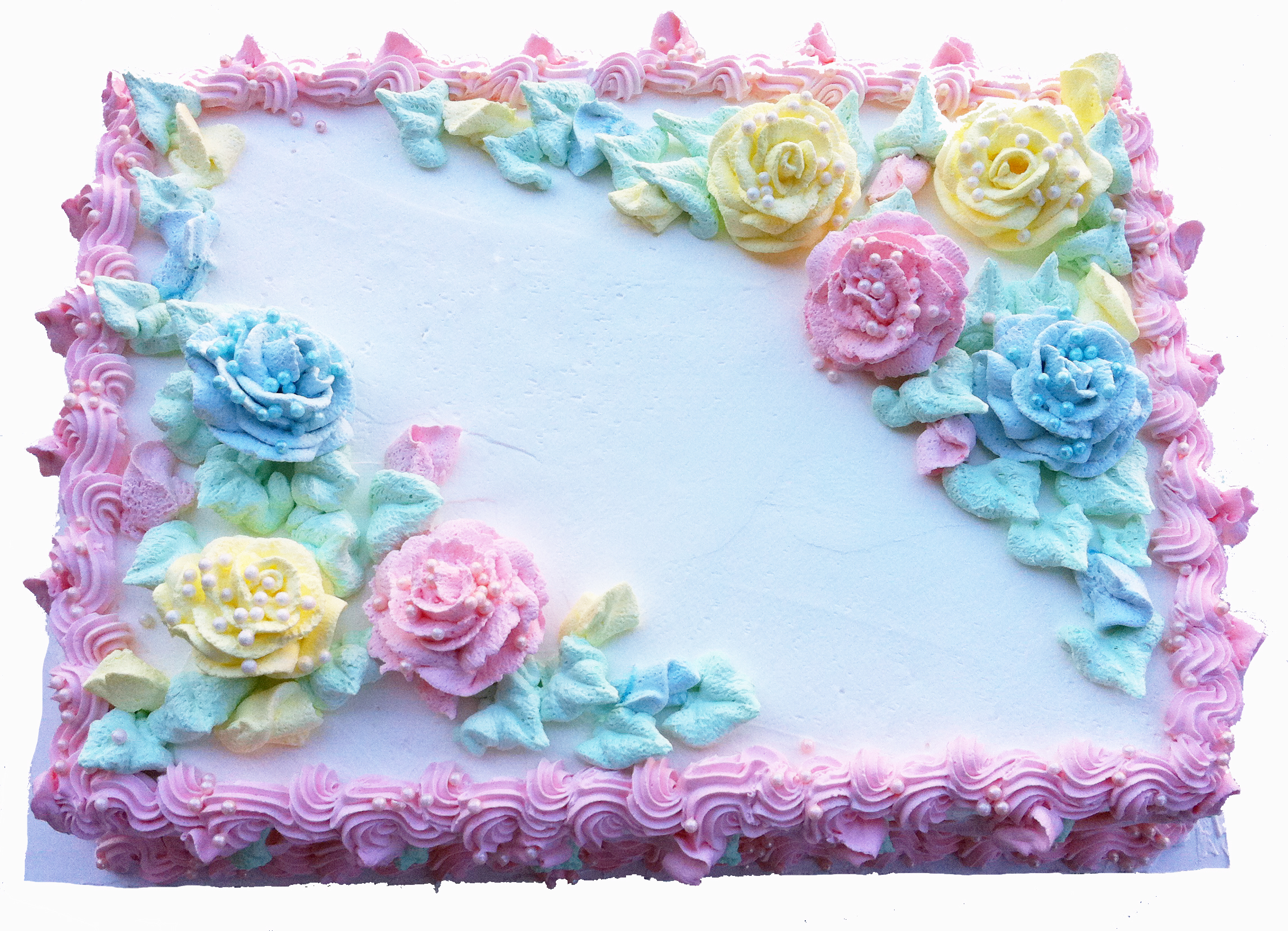 12 Photos of Sheet Cakes With Pastel Roses