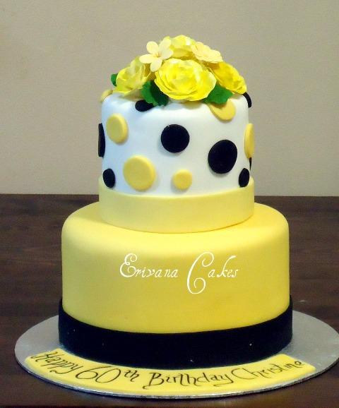 Black and Yellow Birthday Cake
