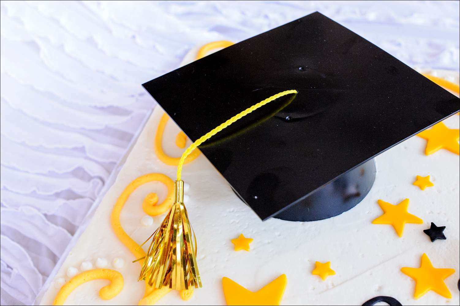 Black and Yellow Graduation Cake