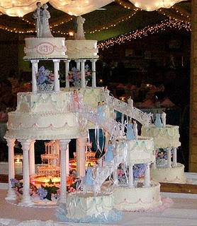 Blue and White Wedding Cake with Fountain