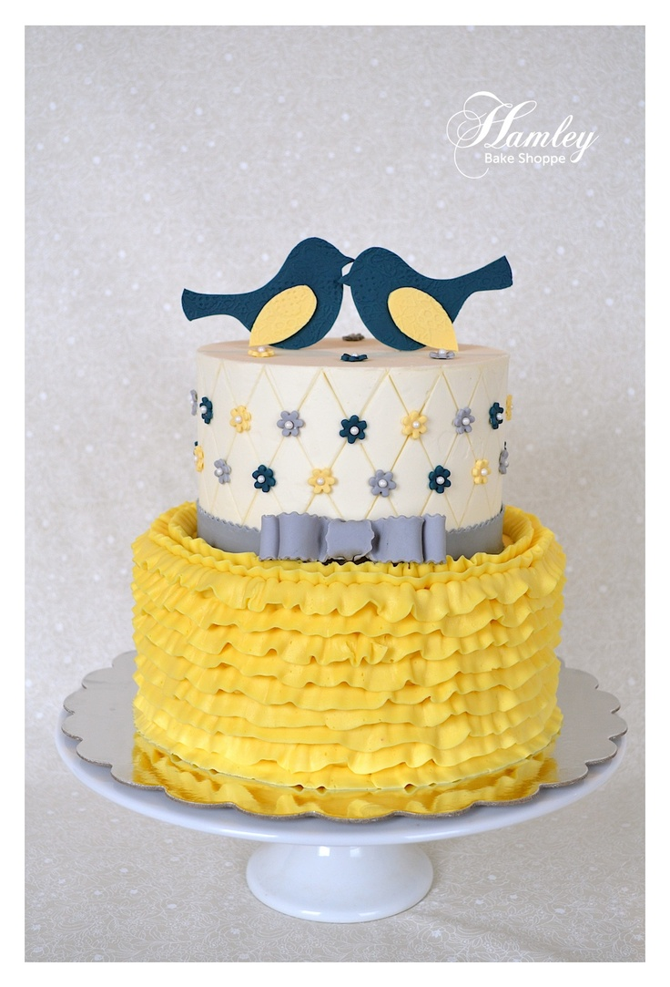 Blue and Yellow Bridal Shower Cake
