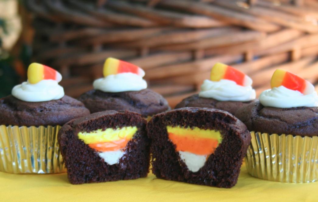Candy Corn Halloween Cupcakes Idea