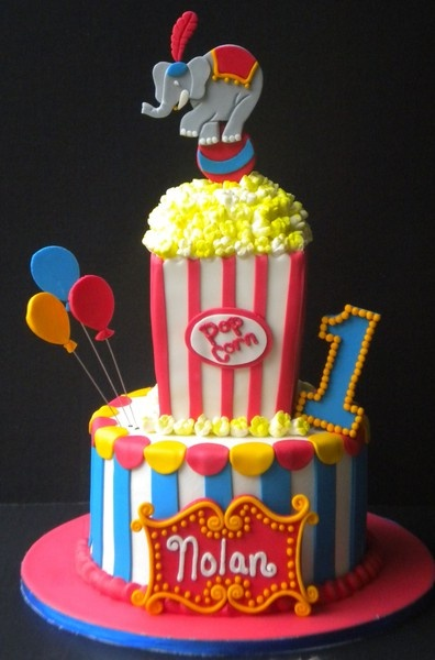 Circus Themed Birthday Party Cake