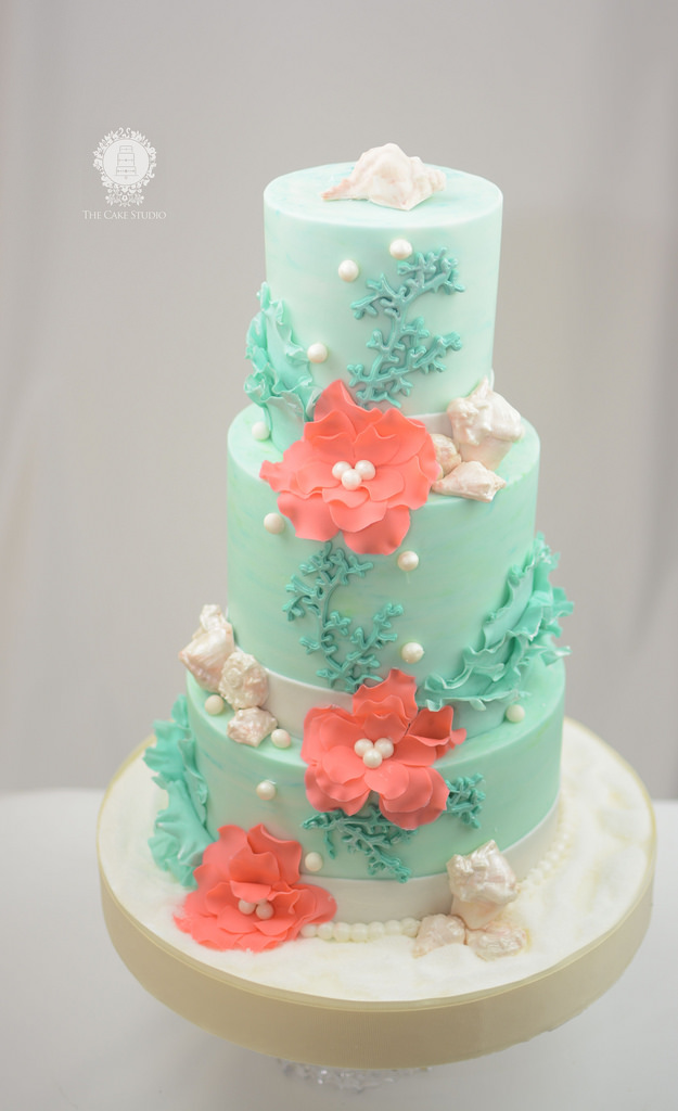 Coral Beach Themed Wedding Cake