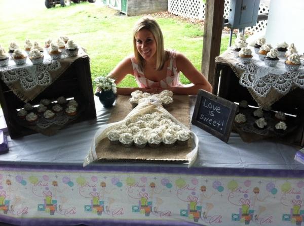 Cupcake Wedding Cake Burlap and Lace