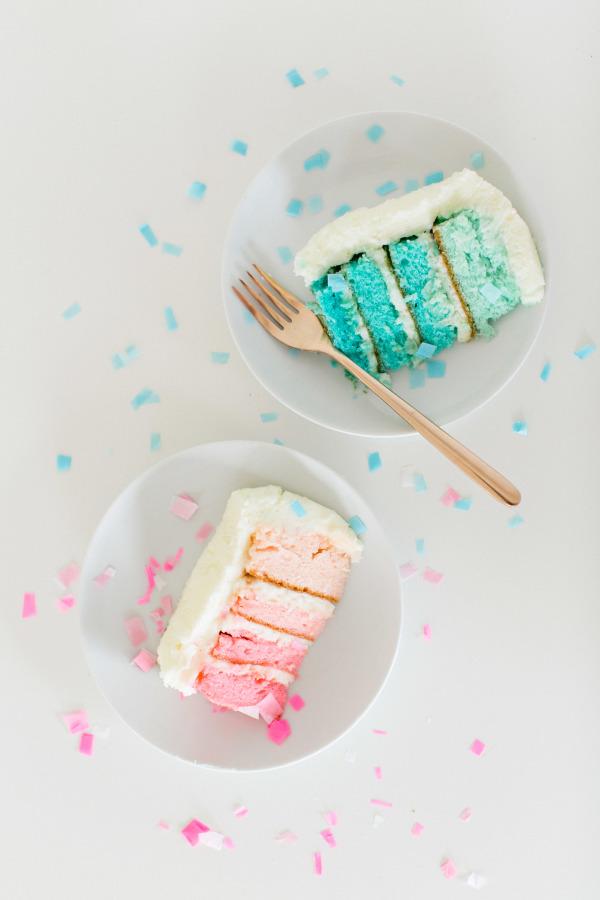 DIY Gender Reveal Cake Ombre