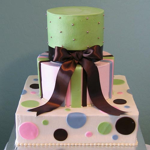 Green and White Polka Dot Cake